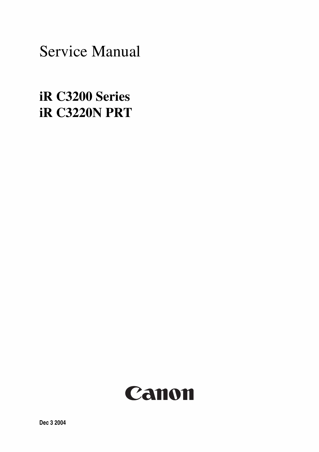 Canon imageRUNNER iR-C3200 C3200N Parts and Service Manual-1